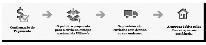 Pagamento >> Processamento >> Envio >> Entrega